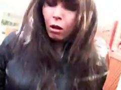 Busty brunette gets fucked in voyeur public sex video