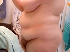big beautiful woman wife drying her unshaved bawdy cleft, large milk sacks & hard teats