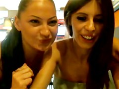 2 lesbi in public cafe