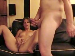 Wife and her hubby jerk off together in voyeur video