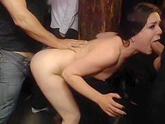 American slut anal fucked in public bdsm