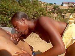 Brunette Ebony Girl Sucks On Big Black Dick