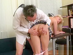 Innocent college girl gets teased and poked by her senior tea