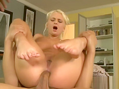 Kinky blonde porn babe double penetrated by black men
