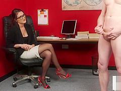 British CFNM office voyeur enjoys wanking session