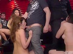 Lesbian slaves swapping cum in public bar