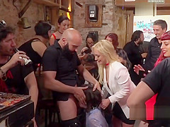 Deep throat fucked slave in public bar
