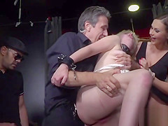 Blonde throat and pussy fucked in public