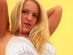Sensual teen is gaping pink snatch in close up and climaxing