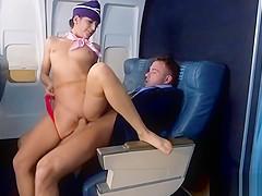 Stewardess fucks passanger in full airplane