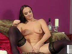 Stockinged femdom voyeur teasing her subject