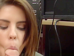 Pawnshop amateur covered in jizz after bj