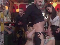Blonde Spanish hottie sucking in public bar