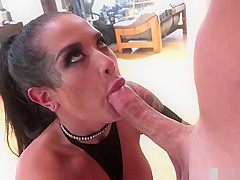 Busty babe Katrina Jade sucks dildo and gets her ass fucked