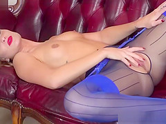 Kinky brunette pussy play orgasm in sexy layered pantyhose