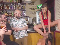 Ebony slave gets cane in public bar