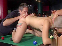 Blonde fucked and cummed in public pool bar