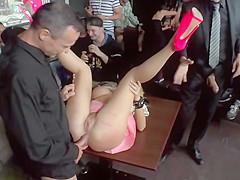Blonde in pink high heels fucked in public
