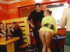 Busty babe whipped and fucked in public