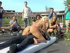 Busty Euro blonde in knickers in public