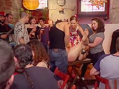 Fetish blonde gangbanged in public bar