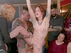 Small tits Spanish redhead fucked in public