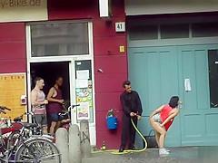 Big tits slave gangbang fucked in public