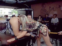 Anal sluts get double penetration in public