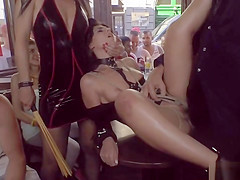 Brunette gets facial in public bar