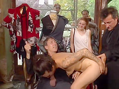 Hot babe anal gangbanged in public