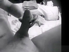 Male genital waxing with erection
