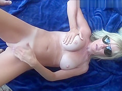 a hot tanline milf mastrubating and sucking cock outside 720p