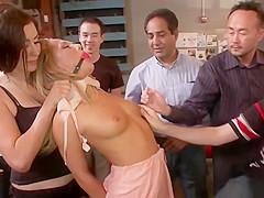 Blonde slut group fingered in public