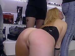 Naked blonde kneeling in public streets
