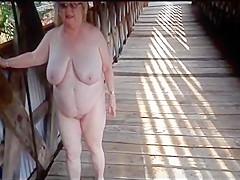 Granny orgasm outdoor