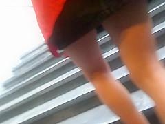 Upskirt in yellow skirt