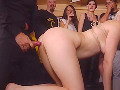 Tied up tits blonde public gangbang