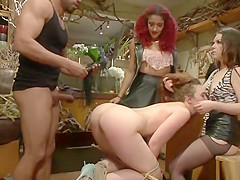 Hot babe doggy banged in flower shop
