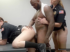 Interracial rough threesome with curvy and beautiful milfs in uniform