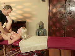 Cum sprayed babe pounded by her masseur