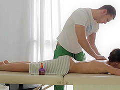 Massaged babe assfucked by masseur
