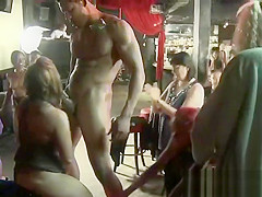 At The Strip Club Blonde opens legs wide To fuck