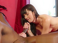 Lingerie beauty drilled by black masseur