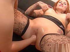 Pussy deep fisting with tattooed redhead hoe