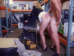 Sexy blonde MILF gets fucked by pawn keeper for money