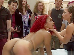 Ebony doggy hard fucked for public