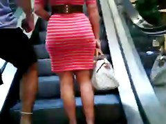 Incredible dark brown whooty in taut red costume