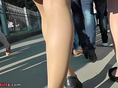 Cute upskirt beauties have a fun a sunny day