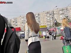 Eye-catching street upskirt with white panty