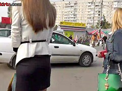 Eye-catching street upskirt with white panty